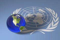 Blauer Marmor und UNO-Markierungsfahne Stockfoto