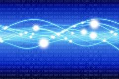 Blauer Matrixhintergrund mit Lichtwellen Stockbild