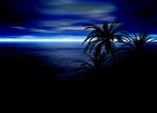 Blauer Meerblick-Horizont mit Palme-Schattenbildern Stockbild