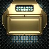 Blauer Metallhintergrund mit gelbem Element Lizenzfreie Stockfotos