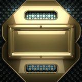 Blauer Metallhintergrund mit gelbem Element Lizenzfreies Stockbild