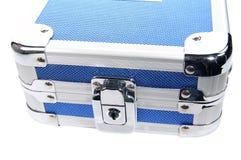 Blauer metallischer Kasten Stockfoto