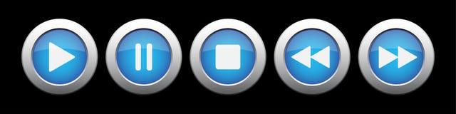 Blauer Metallknopf mit Musiksteuerknöpfen Stockfotos