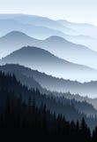 Blauer Morgen des Vektors in den Bergen Lizenzfreies Stockfoto