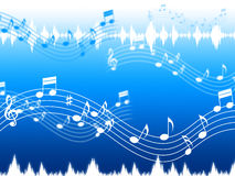 Blauer Musik-Hintergrund bedeutet Seele Jazz Or Blues Stockbild