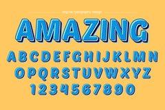 Blauer mutiger Retro- bunter Typografie-Entwurf lizenzfreie abbildung