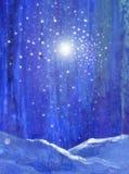 Blauer Nachtwald mit Schneelicht und Sternvorlagenkunst vektor abbildung