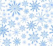 Blauer nahtloser Hintergrund des guten Rutsch ins Neue Jahr-Vektors mit fallenden Schneeflocken Lizenzfreies Stockfoto