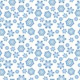 Blauer nahtloser Hintergrund mit Schneeflocken, Lizenzfreies Stockfoto
