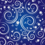 Blauer nahtloser mit Blumenhintergrund stock abbildung