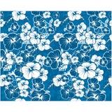Blauer nahtloser mit Blumenhintergrund mit Hibiscusblumen Stockfotos