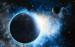 Blauer Nebelfleck mit Planeten Stockbilder