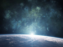 Blauer Nebelfleck mit Planeten stock abbildung