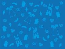 Blauer oktoberfest Hintergrund, hellblaue Symbole von Lederhosen, Dirndl, Bier, Brezel, Edelweiß Lizenzfreie Stockbilder