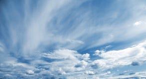 Blauer panoramischer Hintergrund des bewölkten Himmels Lizenzfreie Stockfotografie