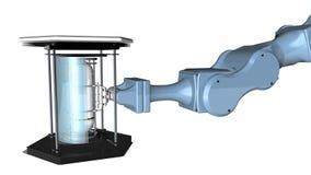 Blauer Parallelgreifer mit Metallklammern halten einen chemischen Behälter, der in einem futuristischen Aufzug auf weißem Hinterg stock footage