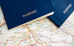Blauer Pass auf Karte, Reise, Tapete Stockbild