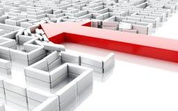 blauer Pfeil 3d, der die Wände im Labyrinth aufgliedert Lizenzfreie Abbildung