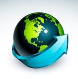 Blauer Pfeil um Erde Stockfoto