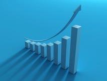 Blauer Pfeil und Balkendiagrammwachstum oben mit Schatten Lizenzfreies Stockbild