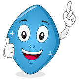 Blauer Pillen-Viagra-Charakter mit den Daumen oben Lizenzfreie Stockbilder