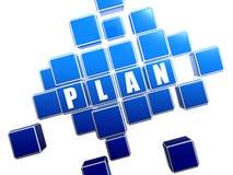 Blauer Plan in den Blöcken Lizenzfreie Stockfotografie
