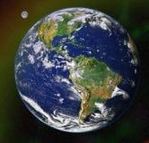 Blauer Planet der Erde im Platz stockfoto