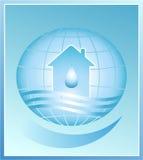 Blauer Planet. Haus, Wasser Stockfoto