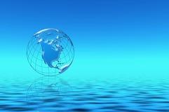 Blauer Planet im Wasser Stockbild