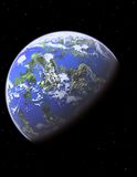 Blauer Planet mit Sternen lizenzfreie abbildung