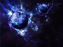 Blauer Planeten-Raum-Szenen-Hintergrund Stockfotos