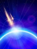 Blauer Planeten-u. Meteor-Sturm lizenzfreie abbildung