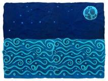 Blauer Plasticinehintergrund mit Raum für textSea und nächtlichen Himmel - blauer Plasticinehintergrund Lizenzfreies Stockbild