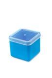 Blauer Plastikkasten lizenzfreie stockbilder