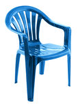 Blauer Plastikstuhl Stockfoto