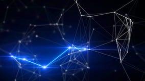 Blauer Plexus und abstrakter Technologie- und Technikhintergrund des Blitzes Lizenzfreie Stockbilder