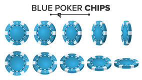 Blauer Poker Chips Vector 3D realistisch Rundes Pokerspiel Chips Sign On White Flip Different Angles Großer Gewinn Stockfotos