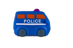 Blauer Polizeiwagen lokalisiert auf Weiß stockfotografie
