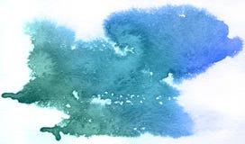 Blauer Punkt, abstrakter Hintergrund des Aquarells Stockfotografie