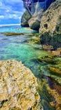Blauer Punkt Bali Suluban-Strandes Lizenzfreies Stockbild
