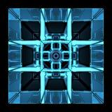 blauer Röntgenstrahl 3D transparenter rubics Würfel Stockbild
