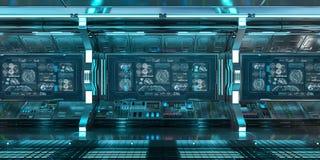 Blauer Raumschiffinnenraum mit Bedienfeld sortiert Wiedergabe 3D aus stock abbildung