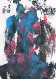 Blauer, rosa, grauer und schwarzer abstrakter handgemalter Hintergrund lizenzfreie stockfotos