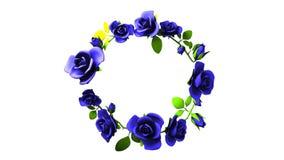 Blauer Rosenrahmen auf weißem Textraum stock video