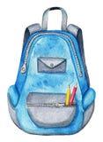 Blauer Rucksack des Aquarells Schul Stockbilder