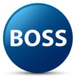 Blauer runder Knopf des Chefs Stockfotos
