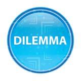 Blauer runder mit Blumenknopf des Dilemmas lizenzfreie abbildung