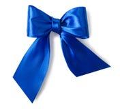 Blauer Satingeschenkbogen Stockfoto