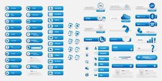 Blauer Satz der Geschäftswebsite Stockfoto