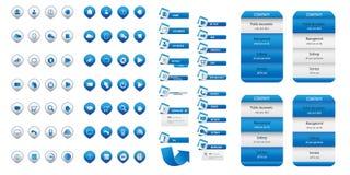 Blauer Satz der Geschäftswebsite-Ikone Stockbild